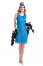 Deluxe Ladies 1920s Roaring 20s Flapper Costume Sequin Ganster Fancy Dress Up Womens Blue Charleston Gatsby Costumes