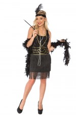 Ladies 1920s Roaring 20s Flapper Costume Sequin Ganster Deluxe Black Fancy Dress Womens Charleston Gatsby Costumes Outfit Plus Size UP