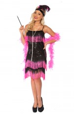 Deluxe Ladies 20s 1920s Charleston Flapper Black Pink Costume Fancy Dress AU Womens Chicago Gatsby Ganster Party Costumes AU Outfits