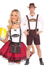 Couples Red Lederhosen oktoberfest Outfit Costume