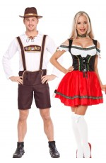 Couple Red Oktoberfest Heidi Beer German Lederhosen Costume