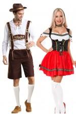Couple Red Oktoberfest Heidi Beer German Lederhosen Costume