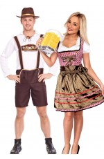 Couples Oktoberfest Heidi Beer Maid Lederhosen Costume