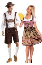 Couples Oktoberfest Heidi Beer Maid Lederhosen Costume