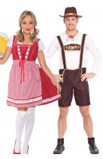 Couple Oktoberfest Wench Beer Maid German Lederhosen Costume