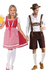 Couple Oktoberfest Wench Beer Maid German Lederhosen Costume