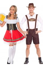 Couple Oktoberfest Dirndl Beer Maid German Lederhosen Costume