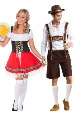 Couple Oktoberfest Dirndl Beer Maid German Lederhosen Costume