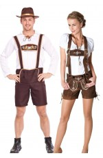 Couples Oktoberfest Beer Maid Bavarian Lederhosen Costume