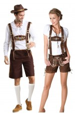 Couples Oktoberfest Beer Maid Bavarian Lederhosen Costume