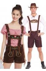 Couple Beer Maid Bavarian Lederhosen Costume