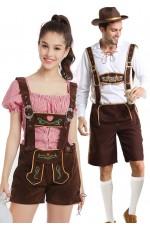 Couple Beer Maid Bavarian Lederhosen Costume