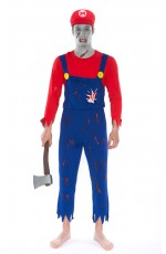 Mens Super Mario Zombie Bloody Halloween Horror Fancy Dress Costume + hat