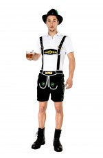 Mens Black Lederhosen Oktoberfest Costume with hat Adult