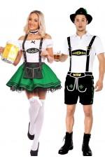 Green Couple Lederhosen Dirndl German Costume