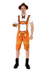 Mens Lederhosen Oktoberfest German Fancy Dress Costume NO HAT
