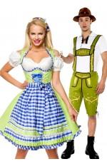 Green Couple Lederhosen Dirndl Maid Costume