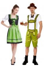 Green Couple Lederhosen Beer Maid Costume