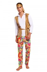 Mens 60s 70s 1960s Hippie Groovy Costume Halloween Retro Hippy Disco Fancy Dress