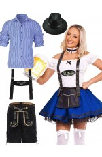 Couple Blue Oktoberfest German Beer Costume