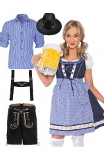 Couple Alpine Beer Maid Vintage Costume