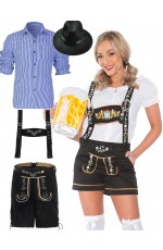 Couples Mr. and Mrs. Oktoberfest Lederhosen Costumes