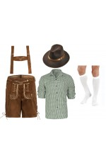 Mens Green Shirt with Brown Lederhosen German Costume