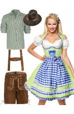 Couple Green Oktoberfest Beer Wench Lederhosen