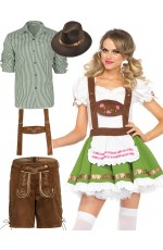 Couple Green Oktoberfest Beer Lederhosen