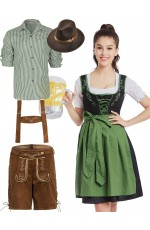 Couple Green Oktoberfest Beer Dirndl German Lederhosen