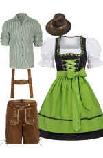 Couple Green Oktoberfest Beer German Lederhosen Costume