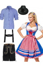 Couple Blue Oktoberfest German Wench Costume