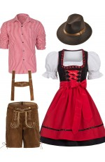 Red Couple Lederhosen Oktoberfest Alpine Costume