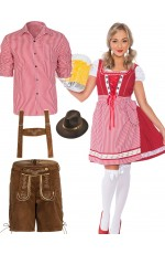 Red Couple Lederhosen Oktoberfest Beer Garden Costume