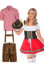 Couple Red Lederhosen Oktoberfest Beer Dirndl
