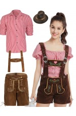 Couple Red Oktoberfest Beer Lederhosen