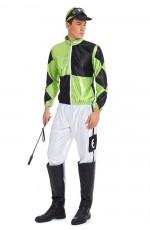Mens Green Black Jockey Horse Racing Rider Uniform Costume