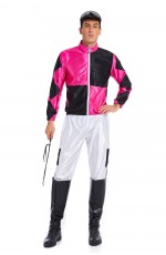 Hot Pink Black Jockey Horse Racing Rider Mens Uniform Fancy Dress Costume