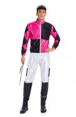 Mens Hot Pink Jockey Horse Racing Rider Uniform Costume Full Set