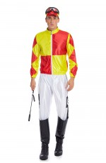Yellow Orange Jockey Horse Racing Rider Mens Uniform Fancy Dress Costume Outfit Hat