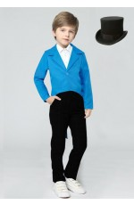 Blue Kids Tailcoat Magician With Top Hat