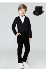 Black Kids Tailcoat Magician With Top Hat