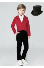 Red Kids Tailcoat Magician With Top Hat