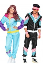 Couples 1980s Black Shell Suit Dress Up tracksuits