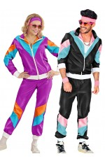 Couple 80s Shell Suit Dress Up Black Purple track Suit