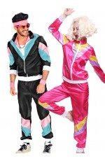 Couple 80s Shell Suit Dress Up Black Pink Tracksuit