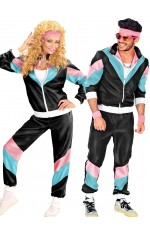 Couple 80s Shell Suit Dress Up Black Tracksuit