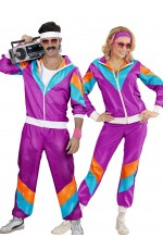 Couple 80s Shell Suit Dress Up Purple Tracksuit