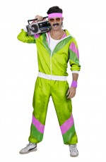80s Mens Shell Suits Dress Up Tracksuit Lime