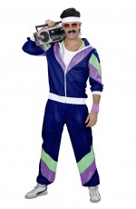 Mens 80s Shell Suit Dress Up Tracksuit Navy